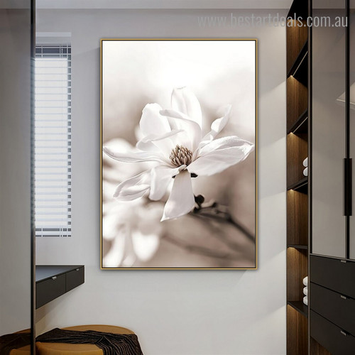 Magnolia Floret Floral Vintage Framed Painting Pic Canvas Print for Room Wall Adornment