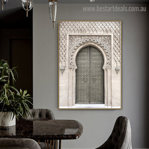 Rabat Mosque Architecture Religious Vintage Framed Painting Picture Canvas Print for Room Wall Assortment