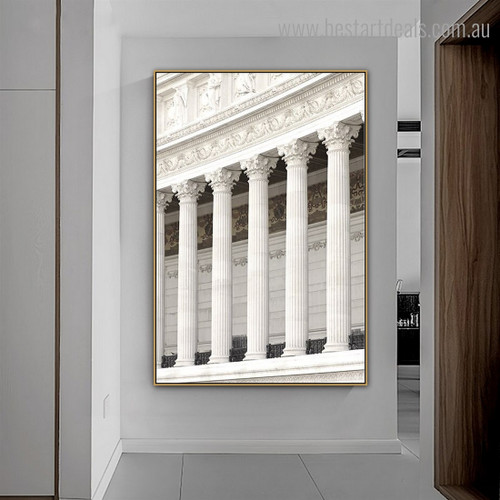 Supreme Court Architecture Retro Framed Painting Picture Canvas Print for Room Wall Flourish