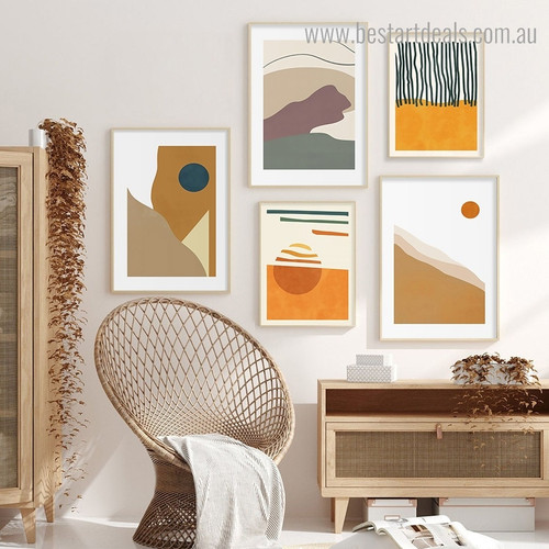 Smears Abstract Scandinavian Framed Painting Image Canvas Print for Room Wall Adornment