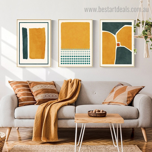 Annular Abstract Scandinavian Framed Artwork Image Canvas Print for Room Wall Disposition