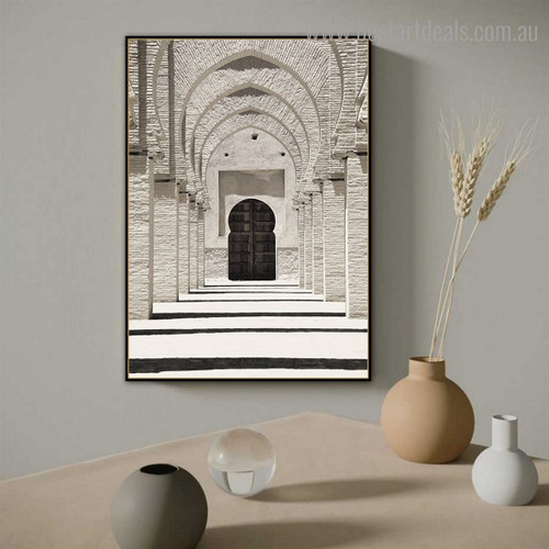 Mosque Door Architecture Vintage Framed Painting Pic Canvas Print for Room Wall Equipment
