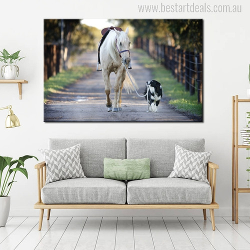A Dog Leads a Horse Modern Picture Print