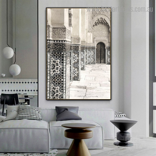 Morocco Mosaic Architecture Vintage Framed Painting Pic Canvas Print for Room Wall Finery