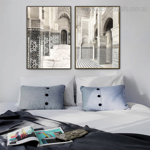 Courtyard Architecture Vintage Framed Painting Photograph Canvas Print for Room Wall Garnish
