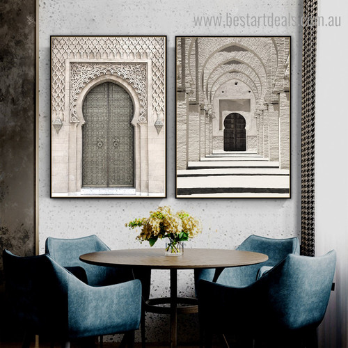 Entrance of Mosque Architecture Vintage Framed Painting Photo Canvas Print for Room Wall Garniture