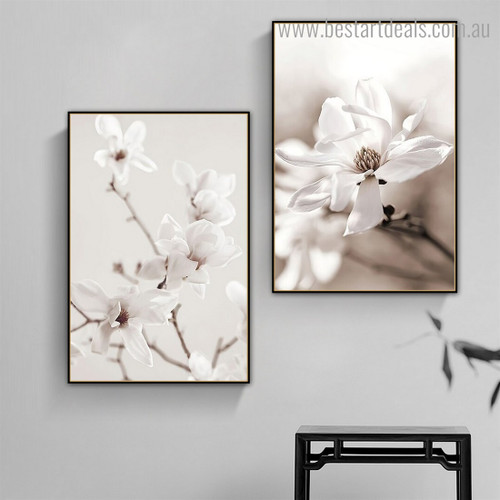 Magnolia Twigs Floral Vintage Framed Painting Pic Canvas Print for Room Wall Getup