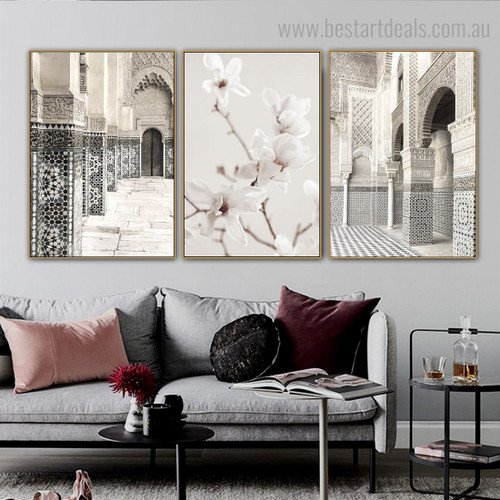 Bailey Architecture Vintage Framed Painting Photo Canvas Print for Room Wall Garniture