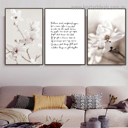 Magnolia Ramule Floral Vintage Framed Painting Pic Canvas Print for Room Wall Flourish