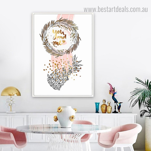 You and Me Quote Nordic Framed Painting Pic Canvas Print for Room Wall Flourish