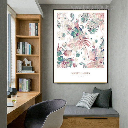 Secret Floral Nordic Framed Painting Pic Canvas Print for Room Wall Adornment