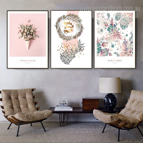 Illustrious Floral Nordic Framed Painting Image Canvas Print for Room Wall Disposition