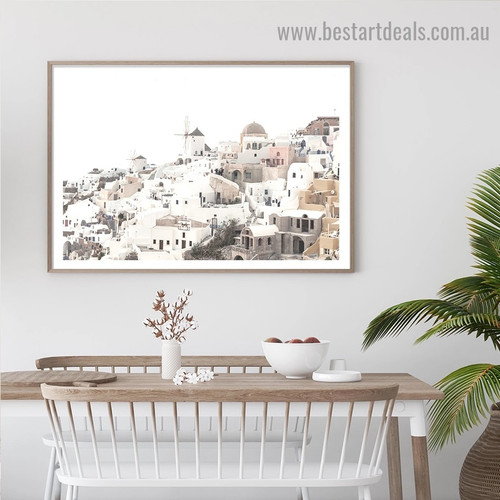 Santorini City Landscape Vintage Framed Painting Picture Canvas Print for Room Wall Decor