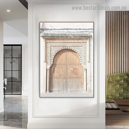 Historical Door Architecture Vintage Framed Painting Picture Canvas Print for Room Wall Decor
