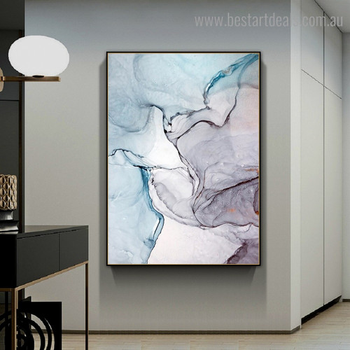 Chromatic Marble Abstract Contemporary Framed Portrayal Picture Canvas Print for Room Wall Decor