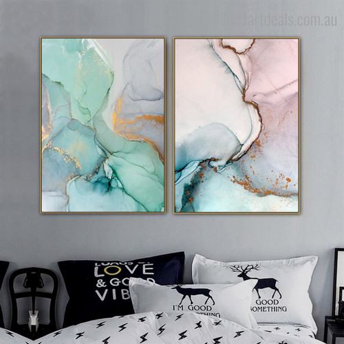Motley Marble Abstract Contemporary Framed Artwork Photo Canvas Print for Room Wall Decor