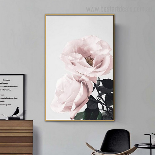 Blooming Roses Floral Contemporary Framed Painting Image Canvas Print for Decoration