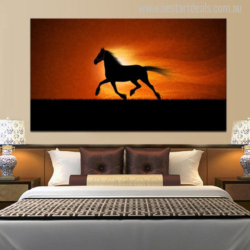 Rushing Horse Modern Animal Picture Canvas Print for Bedroom Decor