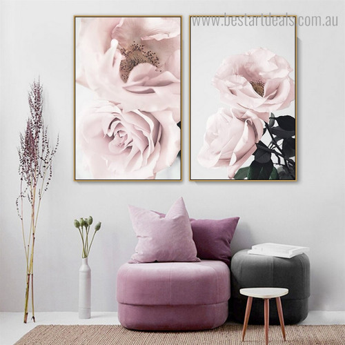 Pinky Roses Floral Contemporary Framed Painting Pic Canvas Print for Room Wall Moulding