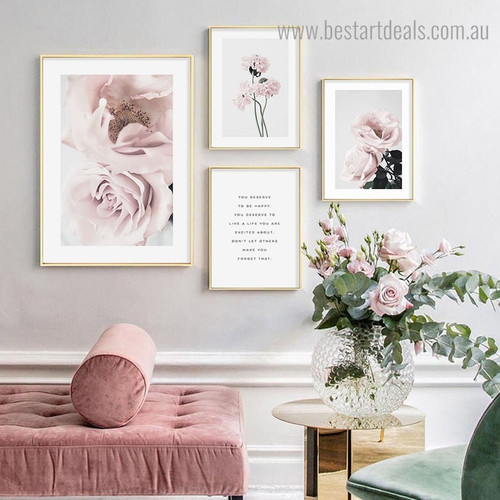 You Deserve Floral Contemporary Framed Artwork Image Canvas Print for Room Wall Tracery