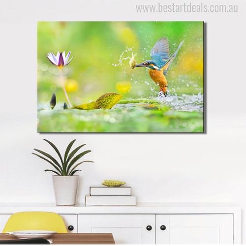 Eurasian Kingfisher Bird Portrait Wall Art Print