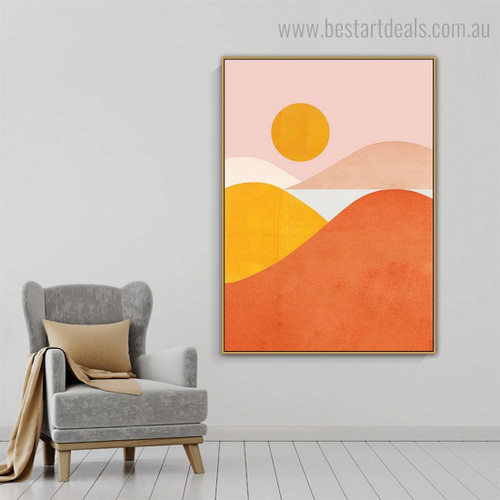 Colorful Hills Abstract Nature Modern Framed Painting Image Canvas Print for Room Wall Onlay