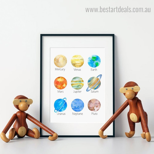 Planets Kids Watercolour Framed Artwork Photo Canvas Print for Room Wall Outfit