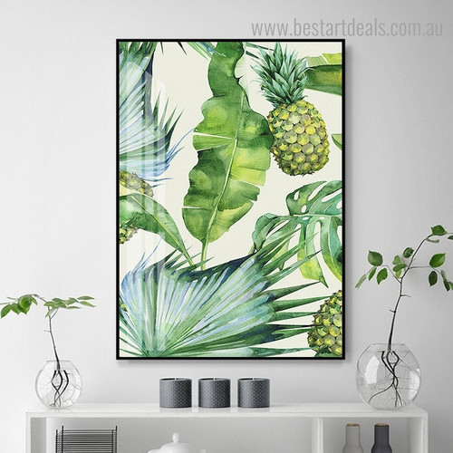 Green Pineapple Botanical Minimalist Nordic Framed Painting Pic Canvas Print for Room Wall Ornament