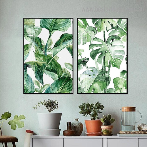 Wild Leafage Botanical Minimalist Nordic Framed Painting Pic Canvas Print for Room Wall Drape