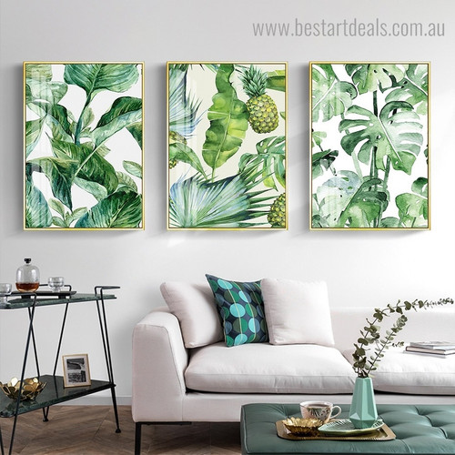 Green Leaves Botanical Minimalist Nordic Framed Painting Portrait Canvas Print for Room Wall Equipment