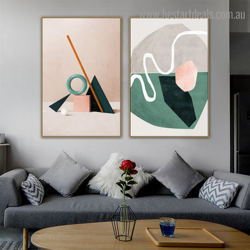 Things Abstract Nordic Contemporary Framed Painting Image Canvas Print for Room Wall Garnish
