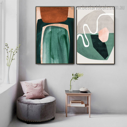 Colorful Blobs Abstract Nordic Contemporary Framed Artwork Picture Canvas Print for Room Wall Getup