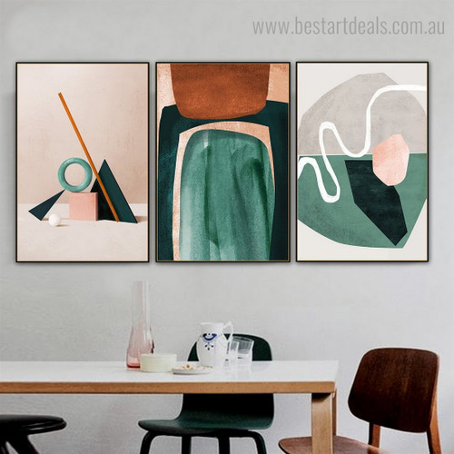 Motley Smirches Abstract Nordic Contemporary Framed Artwork Picture Canvas Print for Room Wall Adornment