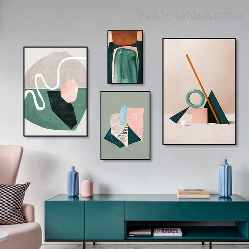 Varicolored Flaws Abstract Nordic Contemporary Framed Artwork Photo Canvas Print for Room Wall Decor