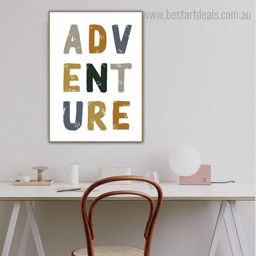 Adventure Quote Contemporary Framed Painting Image Canvas Print for Room Wall Onlay