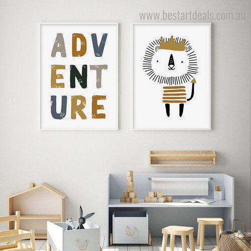 Lion Adventure Animal Contemporary Framed Painting Image Canvas Print for Room Wall Decoration