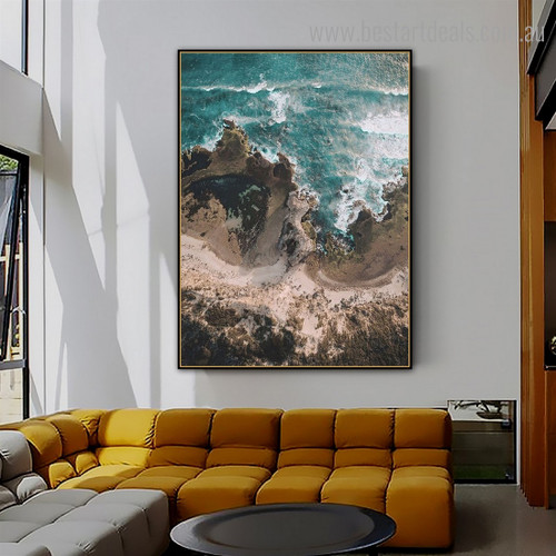 Ocean Hills Nature Contemporary Framed Artwork Pic Canvas Print for Room Wall Garniture