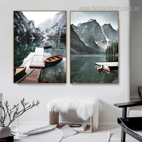 Braies and Moraine Nature Contemporary Framed Painting Image Canvas Print for Room Wall Decoration