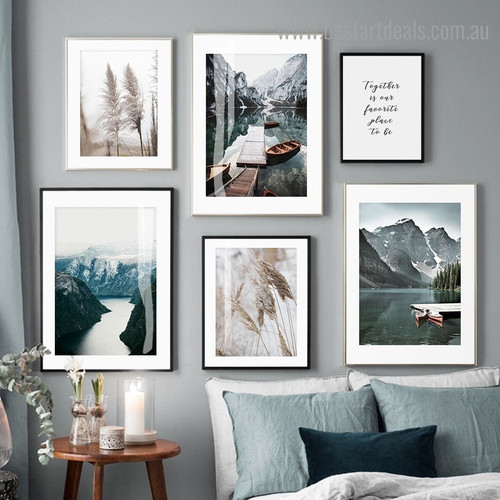 Reeds Lochs Nature Contemporary Framed Artwork Image Canvas Print for Room Wall Assortment