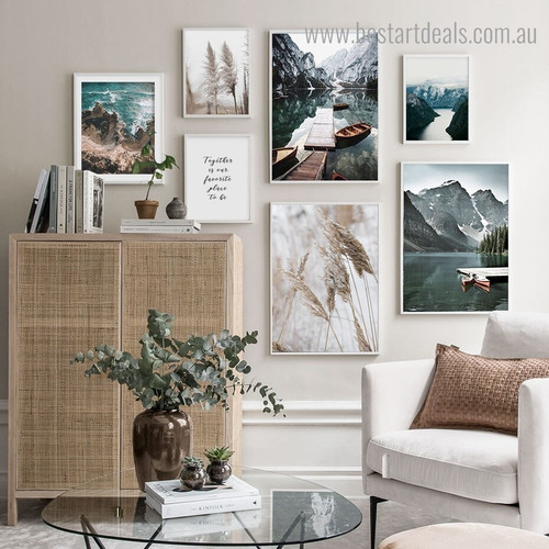 Fjord Reeds Nature Contemporary Framed Artwork Picture Canvas Print for Room Wall Assortment