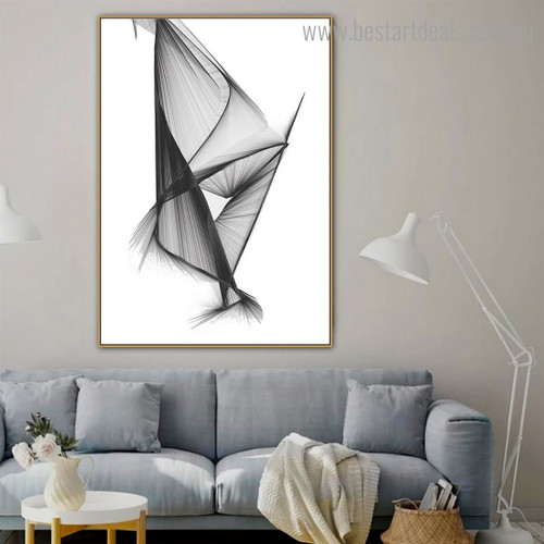 Black Design Abstract Modern Framed Painting Photo Canvas Print for Room Wall Adornment