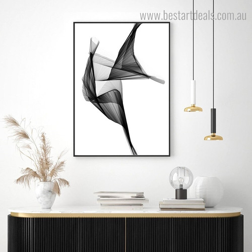 Black Streaks Abstract Modern Framed Painting Image Canvas Print for Room Wall Moulding
