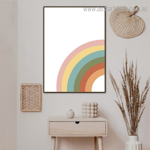 Colorful Rambling Abstract Contemporary Framed Painting Image Canvas Print for Room Wall Moulding