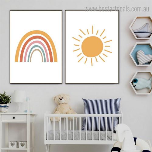 Daystar Rainbow Kids Contemporary Framed Artwork Image Canvas Print for Room Wall Ornament