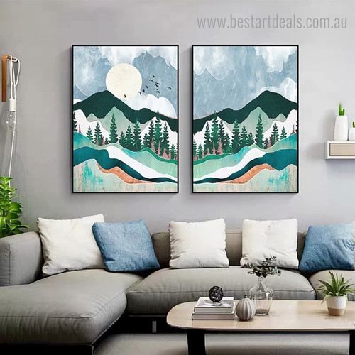 Green Mounts Landscape Nature Contemporary Framed Painting Image Canvas Print for Room Wall Decoration