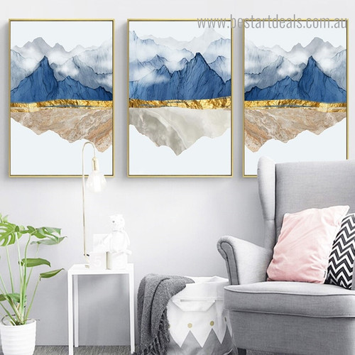 Mountain Fog Nature Nordic Contemporary Framed Artwork Portrait Canvas Print for Room Wall Onlay