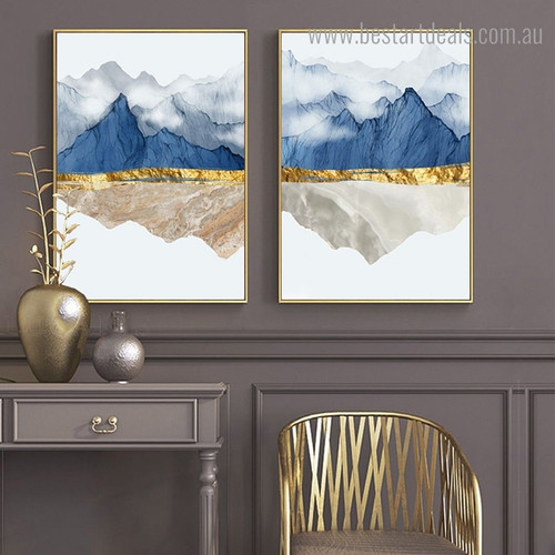 Hills Smoke Nature Nordic Contemporary Framed Artwork Pic Canvas Print for Room Wall Assortment