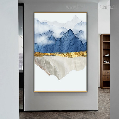Mountainside Smog Nordic Contemporary Framed Artwork Portrait Canvas Print for Room Wall Disposition