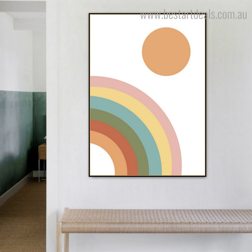 Semi Rainbow Abstract Contemporary Framed Artwork Image Canvas Print for Room Wall Decor