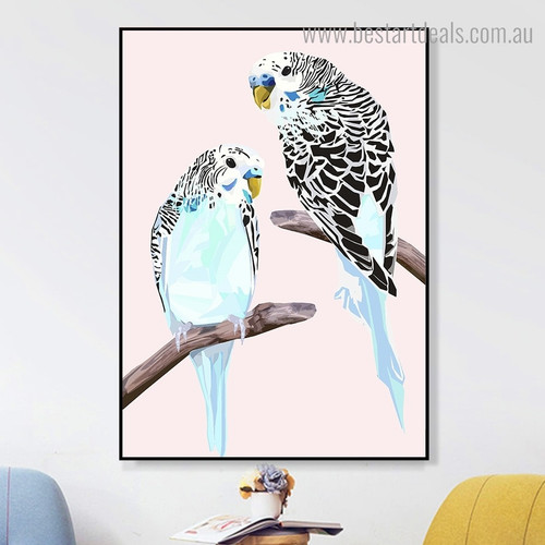 Budgies Bird Contemporary Framed Painting Portrait Canvas Print for Room Wall Flourish
